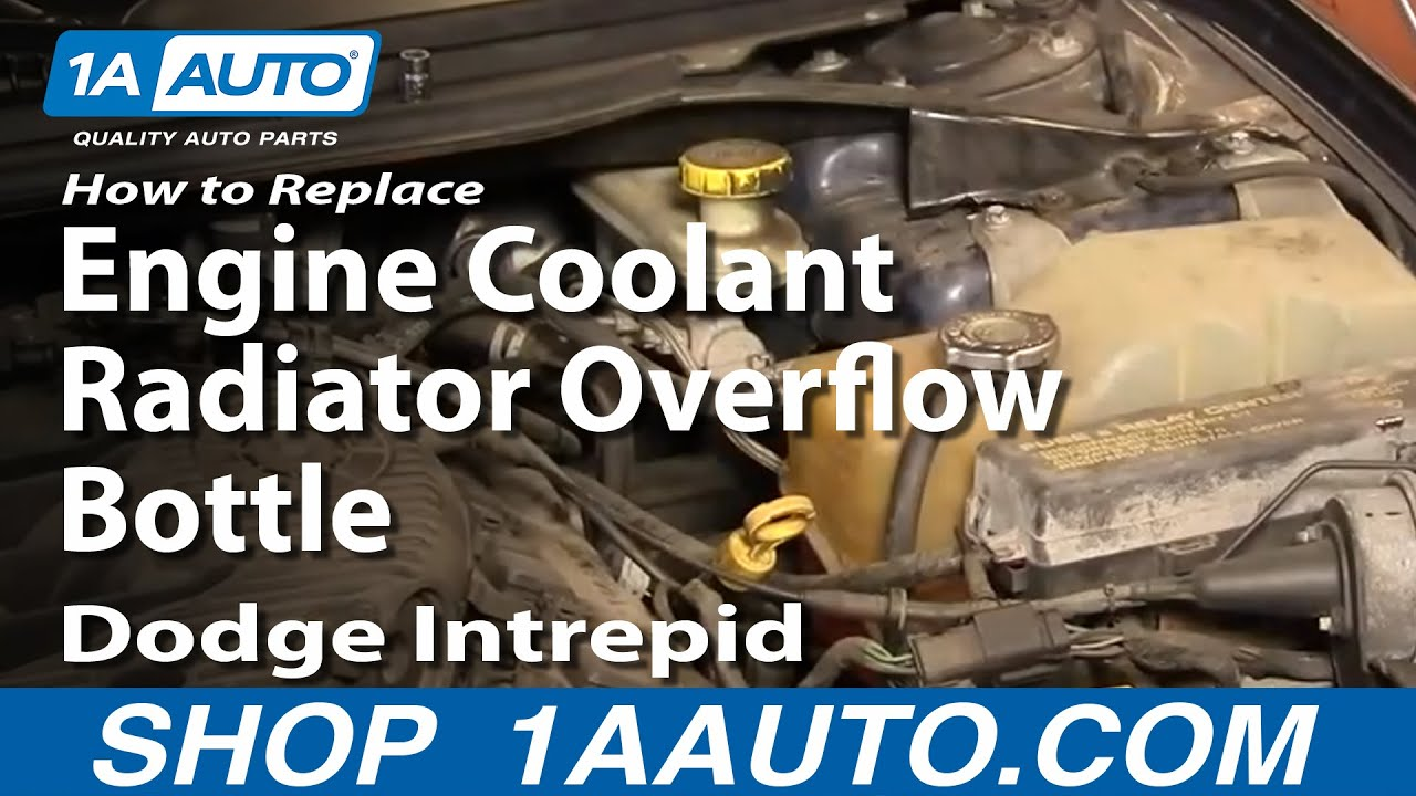 auto repair replace engine coolant radiator overflow bottle dodge rh youtube com