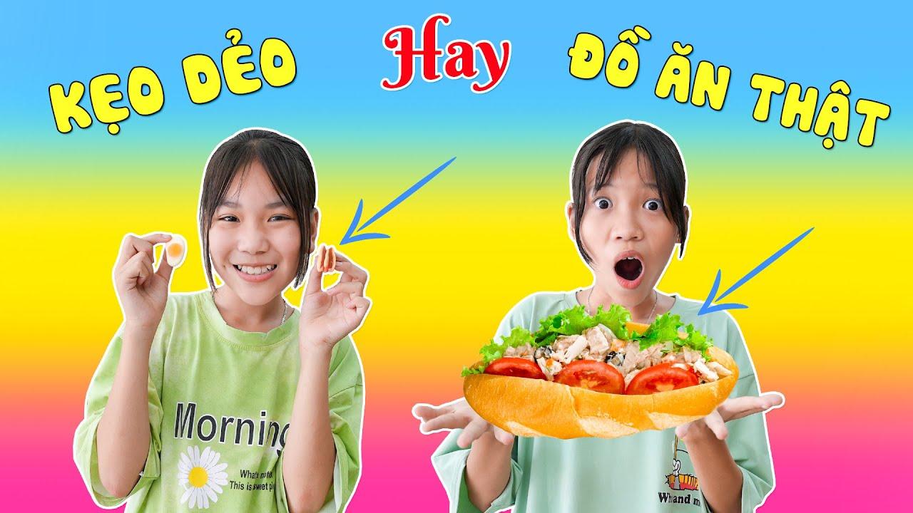 Download Thử Thách Đồ Ăn Thật Hay Kẹo Dẻo ♥ Minh Khoa TV