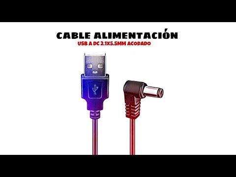 Cable alimentacion USB a DC 2.1 x 5.5 mm acodado 1 Metros Negro