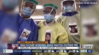Healthcare workers wear photos…