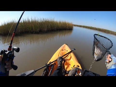 Redfish Tandem Rig In Action, Texas Kayak Fishing