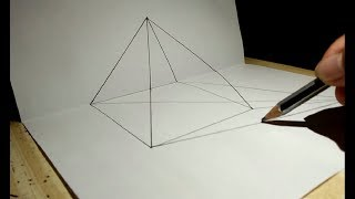 How to Draw 3D Transparenat Pyramid Trick Art for Kids