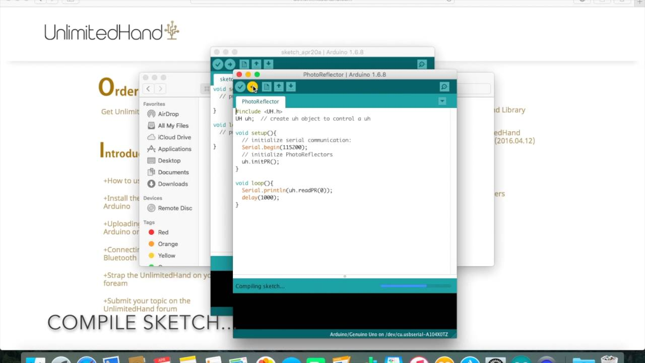 Uploading sample programs Arduino on to the device – UnlimitedHand