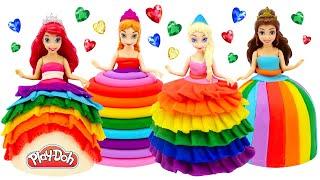 DIY How to Make Play Doh Rainbow Dresses for Princess Dolls