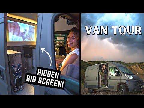 Self Built Van Tour: Stealth High-Tech   Custom Ebikes, Shower, Office