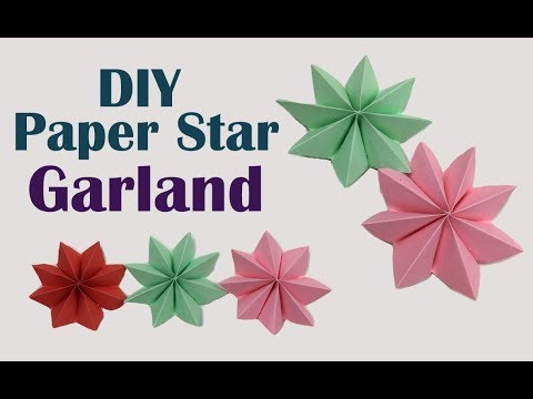 DIY Crafts - Paper ❃ Stars Garland ❃ Flowers | Easy Paper Rosettes ❃Garland❃ for Room Decorations