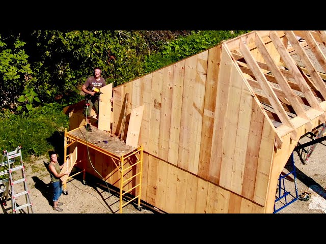 Using all the TRICKS we've Learned Plumbing Rafters and Siding Couple Build Post & Beam Garage #15