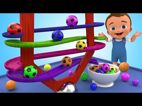 Thumbnail: Learn Colors for Children with SoccerBalls Wooden BallSliderToy 3D Kids Toddler Learning Educational