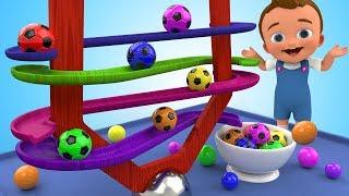 Learn Colors for Children with SoccerBalls Wooden BallSliderToy 3D Kids Toddler Learning Educational