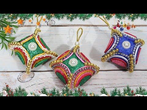 Diy christmas ornaments 2018 | Craft with glitter foam sheet
