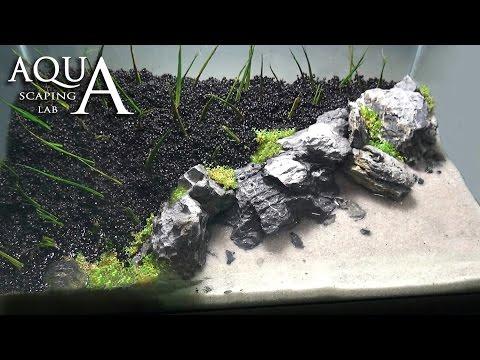 """Aquascaping Lab - Tutorial Iwagumi Aquarium """"Desert Island Beach"""" (size 40x25x25H 25L) rocks plants"""