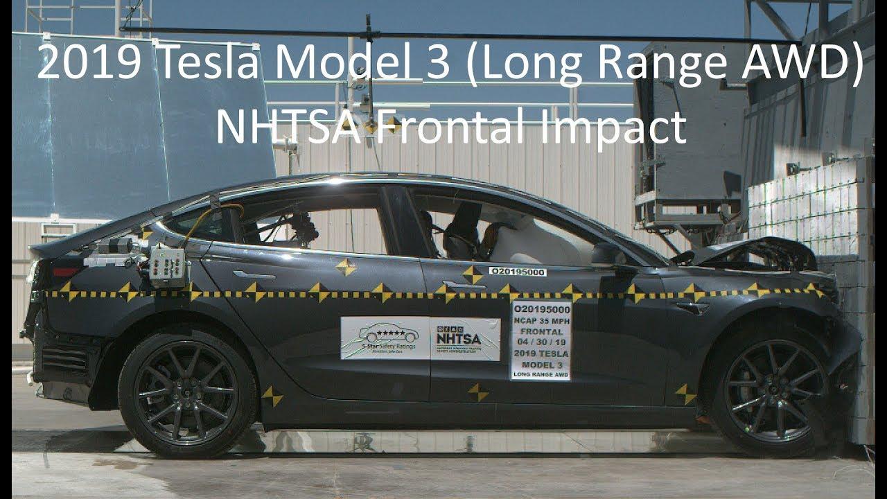 2019 2020 Tesla Model 3 Long Range Awd Nhtsa Frontal Impact Youtube