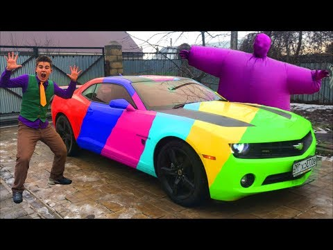 Mr. Joe & Purple Fat Man & Motorcyclist On Multi-Color Chevy Camaro In Car Service For Kids