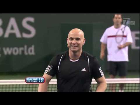 2010 Hit for Haiti Indian Wells: SamprasFederer vs. AgassiNadal HD