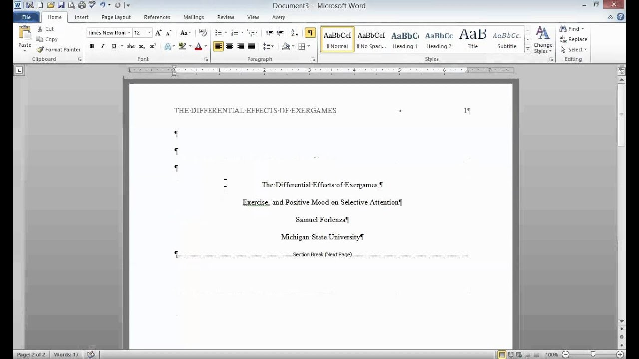 how to write a title page for a research paper