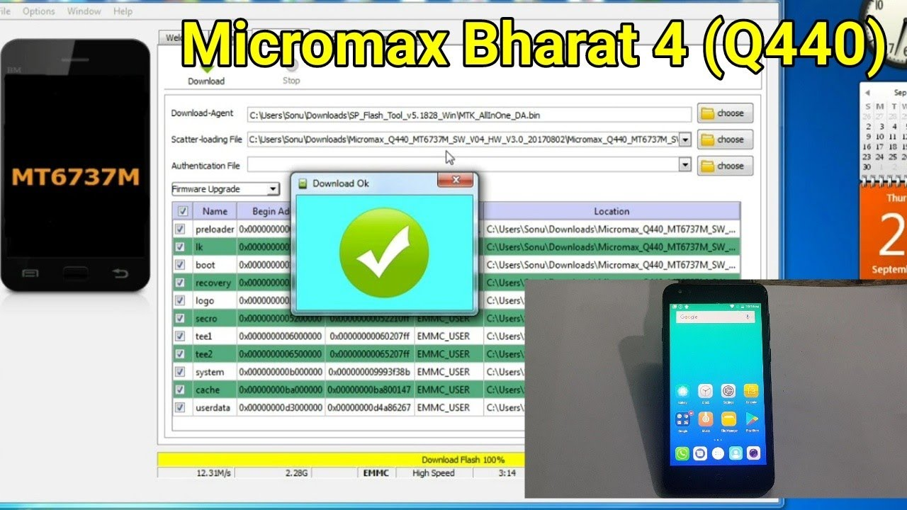 Micromax Bharat 4 (Q440) Flashing firmware by SP Tool || Remove FRP or  Google Lock by SP Tool