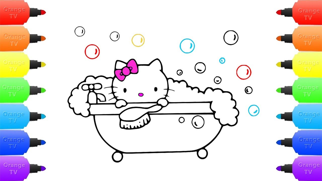 Hello Kitty Bubble Bath Coloring Page