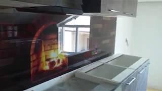 Кухонный фартук из стекла - кирпичный очаг. Продажа и доставка в Днепре. TM Pavlin Art