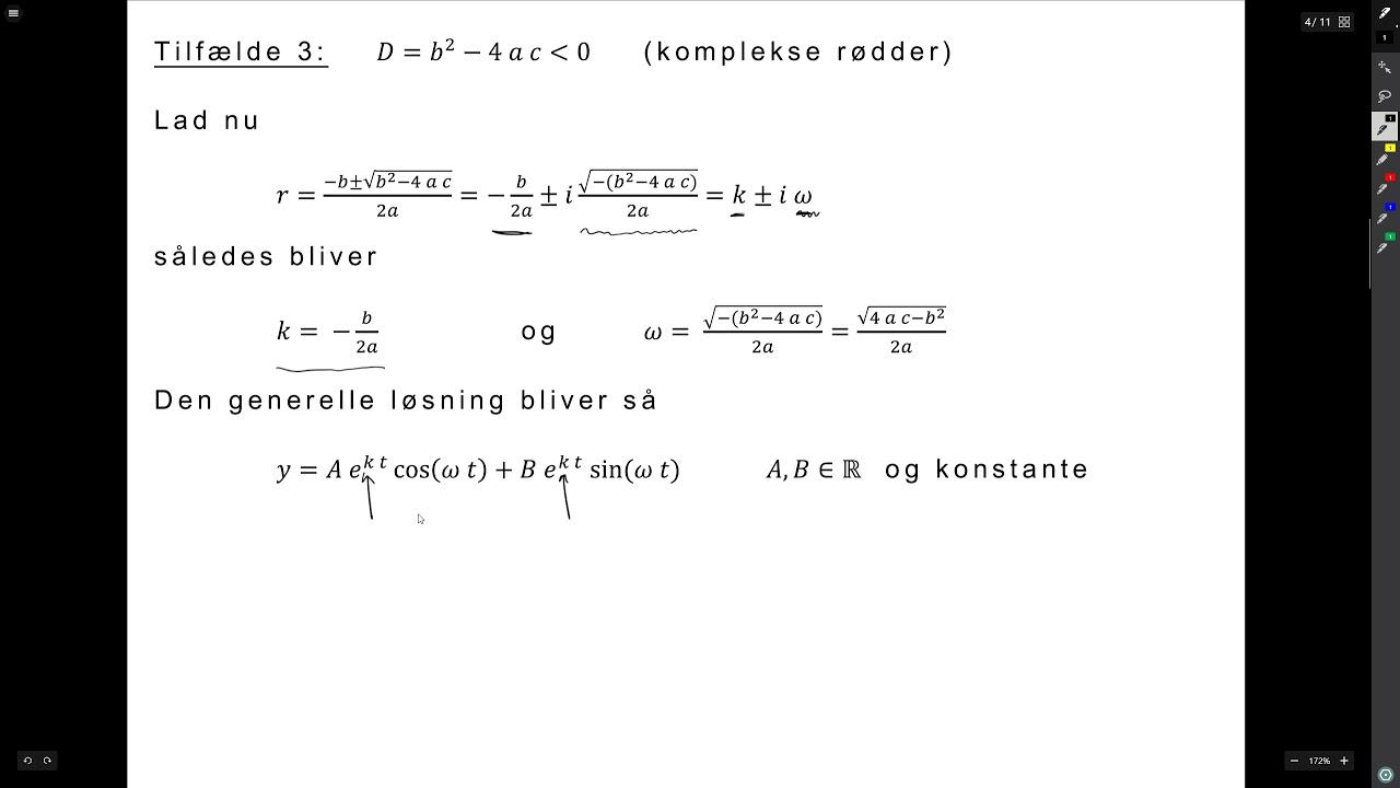 Matematik Lektion 09 del 3 - Anden ordens homogene ordinære differentialligninger