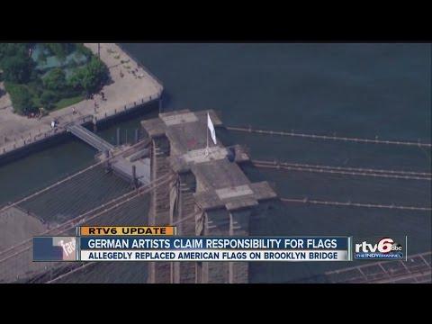 German artists: We switched Brooklyn Bridge flags