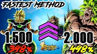 FASTEST METHOD TO GET A LVL 2,000 AND 498% FOR YOUR TEAM! | DRAGON BALL LEGENDS