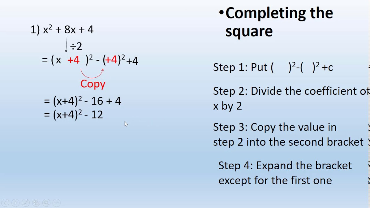 Completing The Square [part 1] [easy Method]