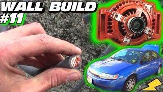 EXO's Subwoofer WALL Build #11 | Installing High Output Alternator & Running 2/0 Power & Ground Wire