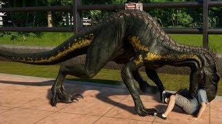 T-Rex & Indoraptor Breakout & Fight! Jurassic World Evolution (1080p 60FPS)