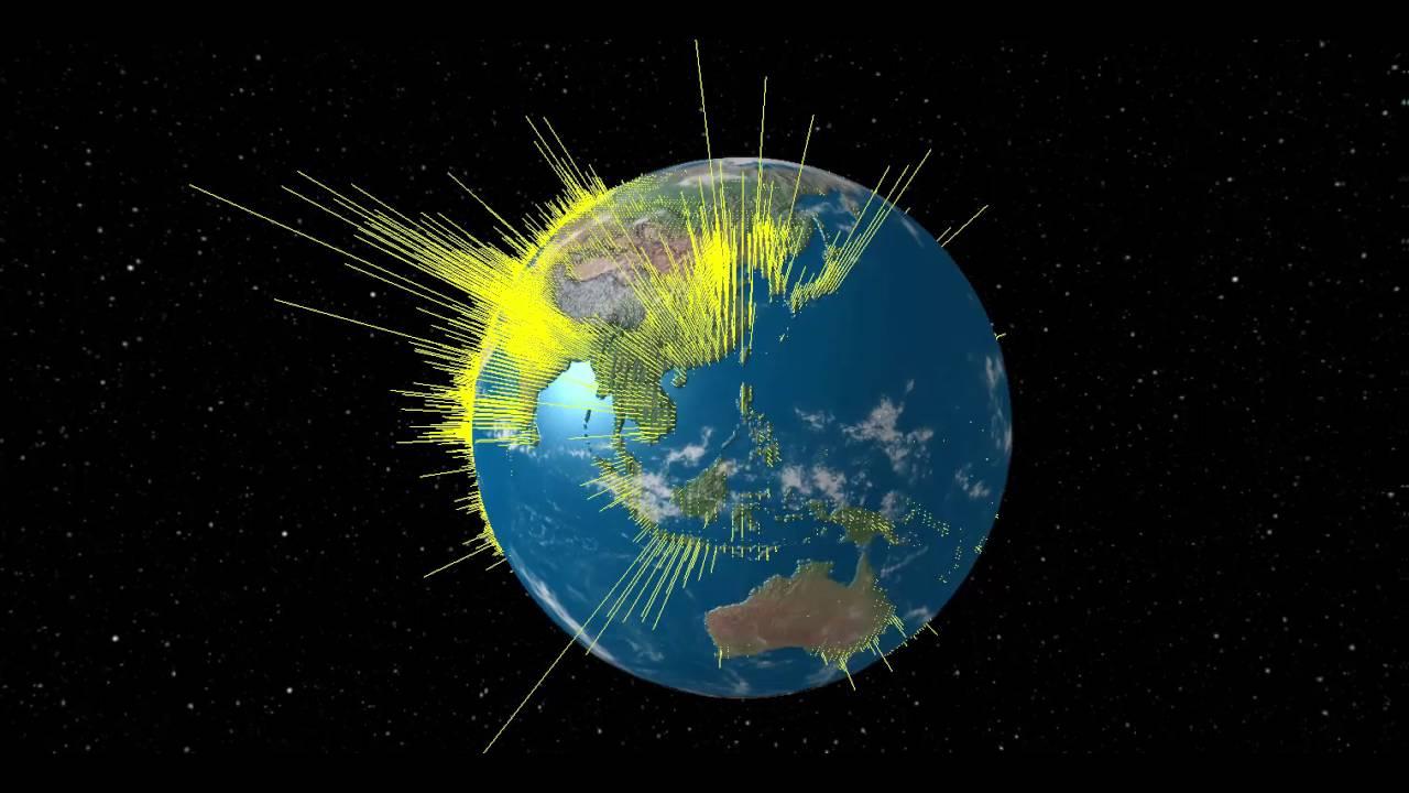 3D Globe of World Population Density - YouTube