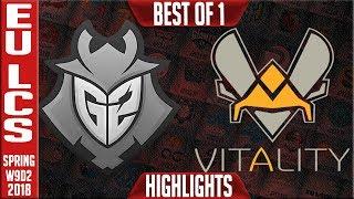 G2 vs VIT Highlights | EU LCS Week 9 Spring 2018 W9D2 | G2 Esports vs Team Vitality Highlights