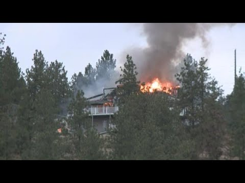 Fire engulfs Spokane Valley home on Beacon Hill