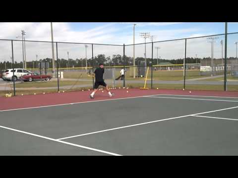 Justin tennis warm up workout before match Panama City Florida with Mucho Caliente Manacita Vamos!