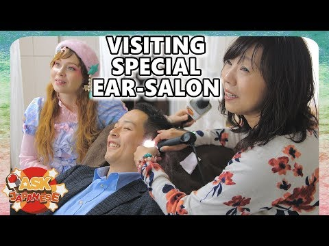 Japanese man at the Japanese ear spa: ear cleaning the Japan way