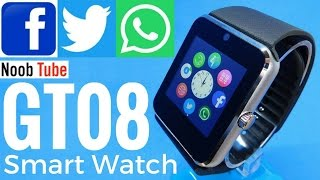 Unboxing Review GT08 SmartWatch & Camera Android iphone SmartPhone With Facebook, Twitter & Whatsapp