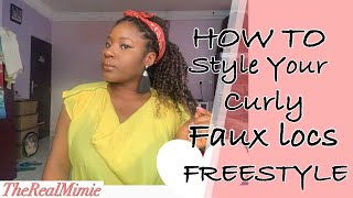 #teamreal #howto #newvideo HOW TO STYLE YOUR CURLY FAUX LOCS//FREESTYLE