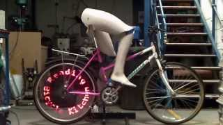 self pedalling Persistence Of Vision bicycle