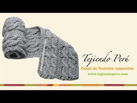 Bufanda con trenzas reversibles para caballero tejida en dos agujas o palitos , YouTube