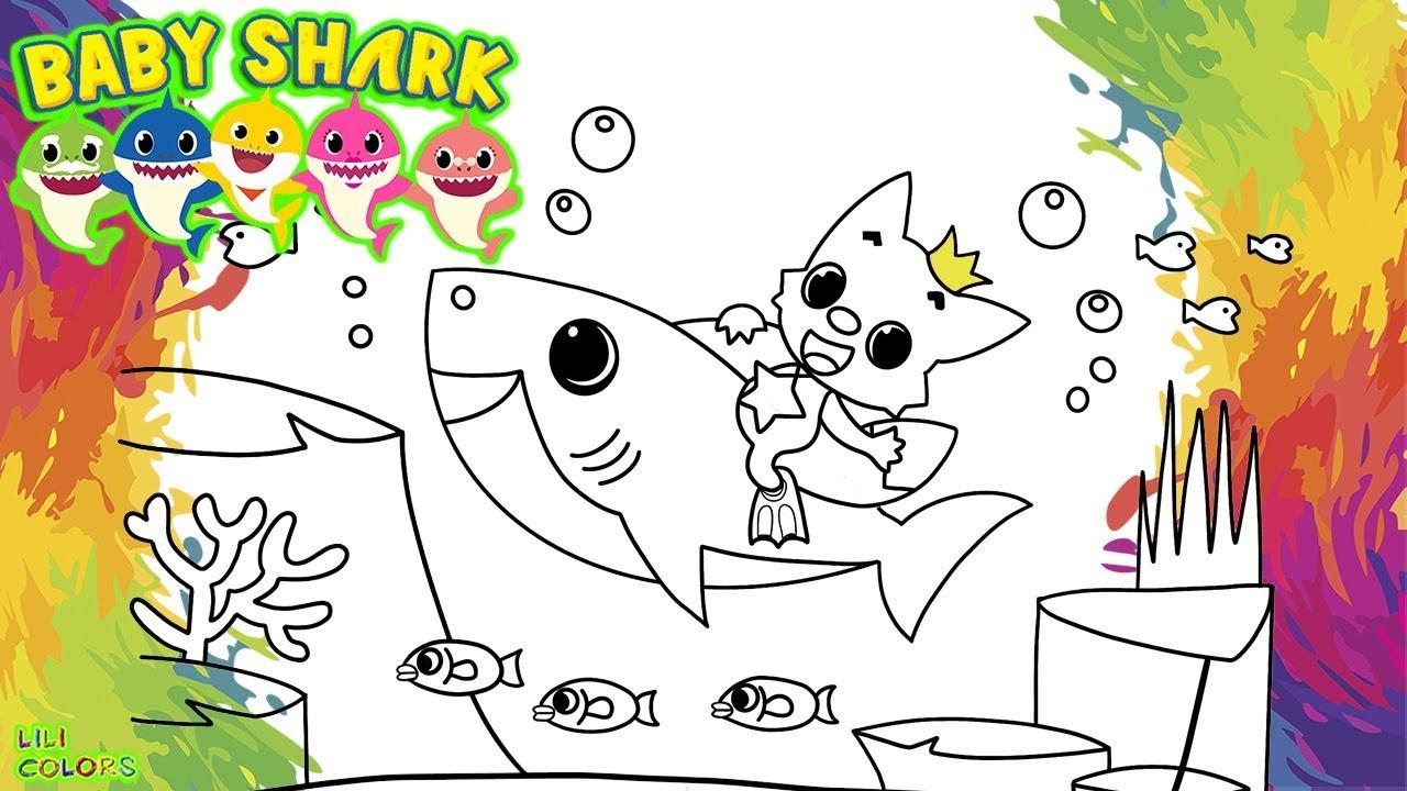 Colorindo Baby Shark E Pinkfong Direto Do Fundo Do Mar Desenho