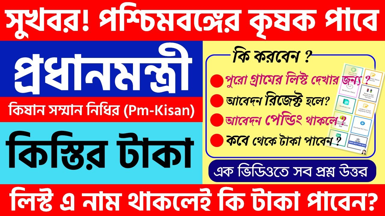 PM-KISAN Samman Nidhi Scheme Beneficiary List In West Bengal | Pm kisan update 2021 news for benefit