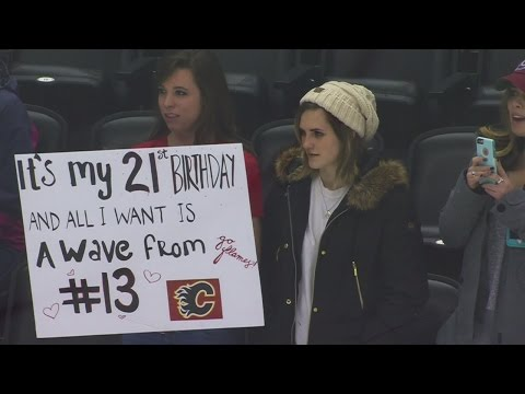 Gaudreau tosses puck at birthday girl just wanting a wave