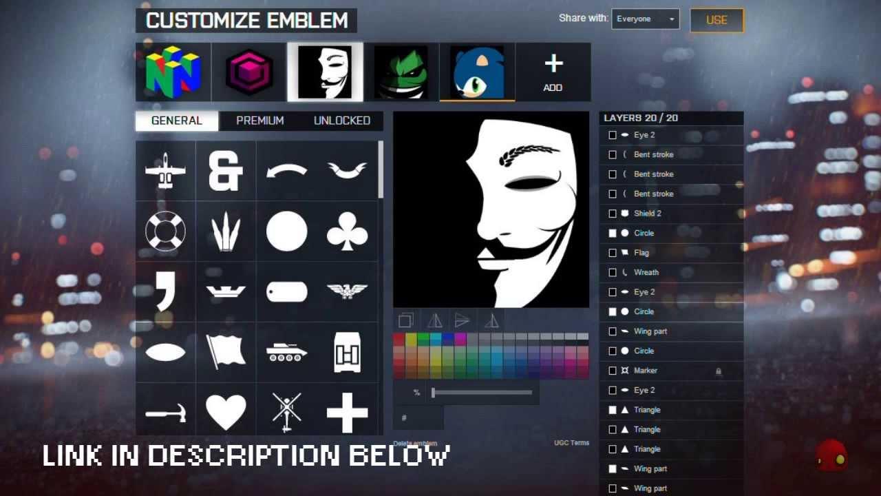 Bf4 Emblem Anonymous V For Vendetta Tutorial Battlefield 4