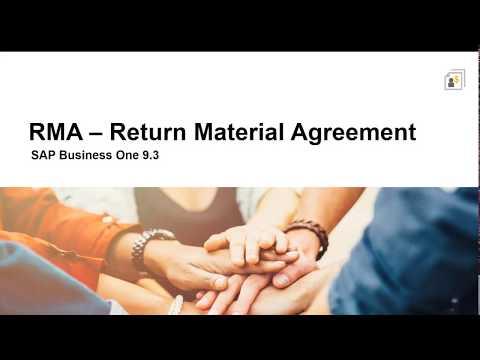 SAP Business One 9.3 - Return Management Agreement