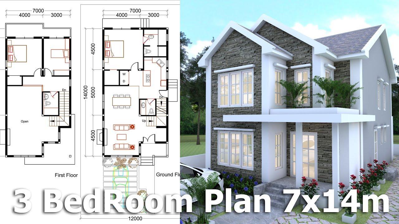 SketchUp Modeling Home Plan 7x14m