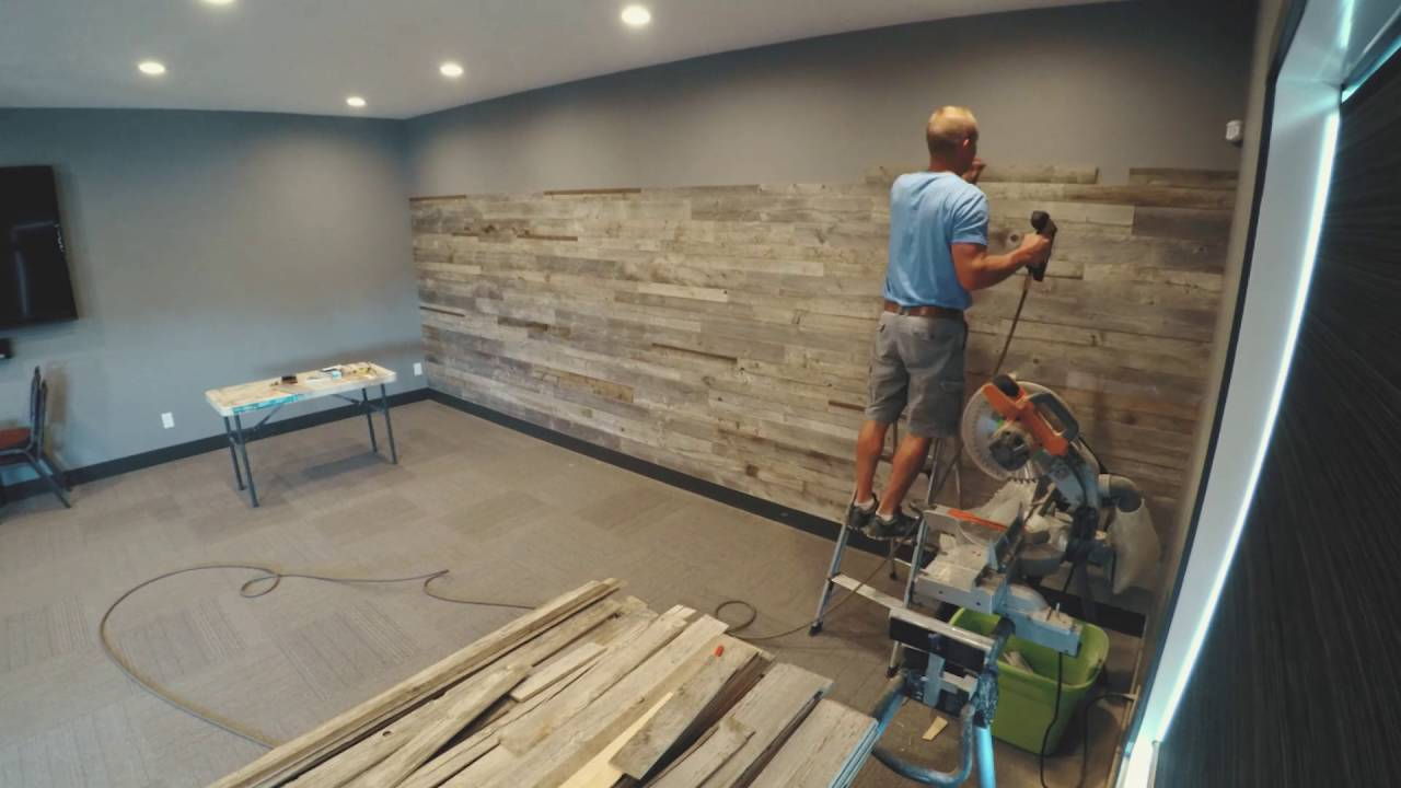 Barnwood Feature Wall Install In A Boardroom