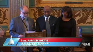Sen. Meekhof honors Paul Fisher for his service to the Michigan Senate