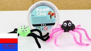 Halloweenowe pająki z masy piankowej i wyciorów do fajek   Foam Clay   pomysł na dekorację