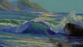 Морской пейзаж маслом, живопись для начинающего художника