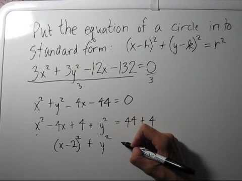 Writing the Equation of a Circle in Standard Form - YouTube