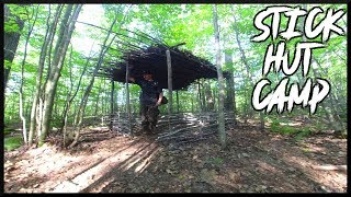 Bushcraft STICK HUT Improvements: Roof Debris, Cook Out, Overnight Camp