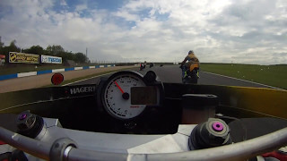 Scary start Mike 'Spike' Edwards races the TBR TZ350 Donington Park ICGP race 1